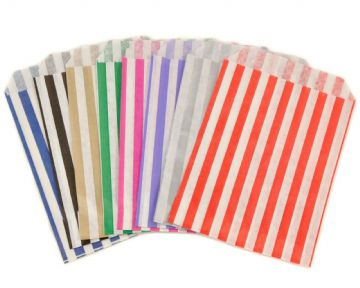 "CANDY STRIPE PAPER BAGS 7"" x 9"" PICK N MIX SWEET GIFT PARTY BAGS WEDDING CANDY CART GIFT"